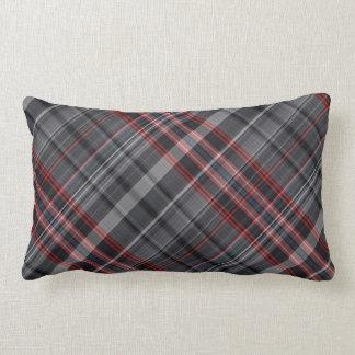 Red, black and white plaid lumbar pillow