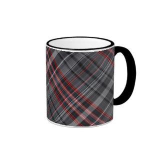Red, black and white plaid ringer coffee mug