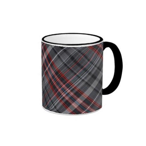 Red, black and white plaid mugs