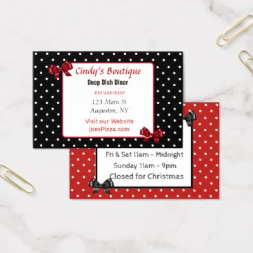Professional Business Red, Black and White Polka Dot Bow Business Card