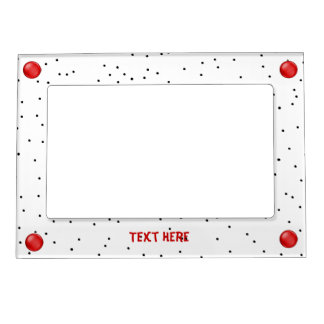 Red, Black, and White Polka Dot Picture Frame Magnetic Picture Frames