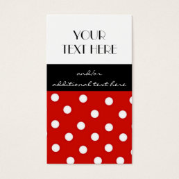 Red, Black and White Polka Dots Business Card