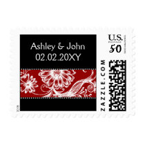 red black and white postage