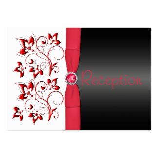 Red, Black, and White Reception Enclosure Card Large Business Card