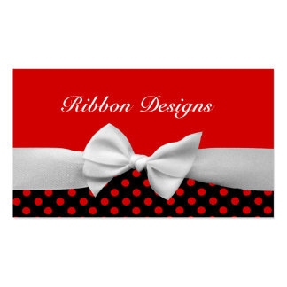 Red Black and white ribbon and polka dots Business Cards