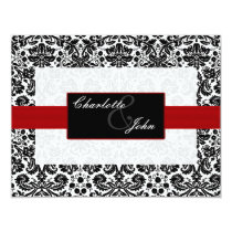 red, black and white Save the date Card