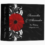Red, Black and White Scroll Gerbera Daisy 3 Ring Binder