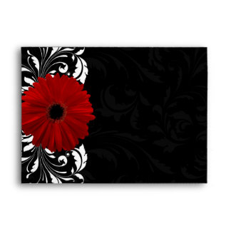 Red, Black and White Scroll Gerbera Daisy Envelope