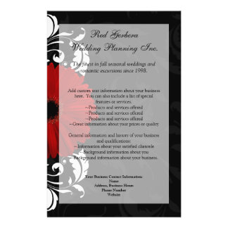 Red, Black and White Scroll Gerbera Daisy Flyer