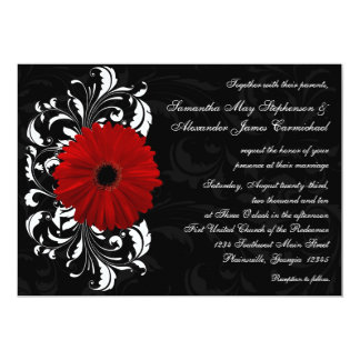 "Red, Black and White Scroll Gerbera Daisy 5"" X 7"" Invitation Card"