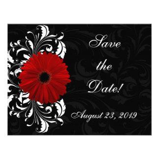 Red Black and White Scroll Gerbera Daisy Personalized Invite