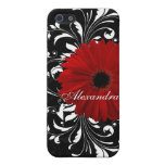 Red, Black and White Scroll Gerbera Daisy iPhone 5/5S Case