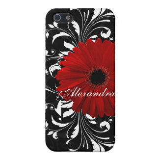 Red, Black and White Scroll Gerbera Daisy iPhone SE/5/5s Cover
