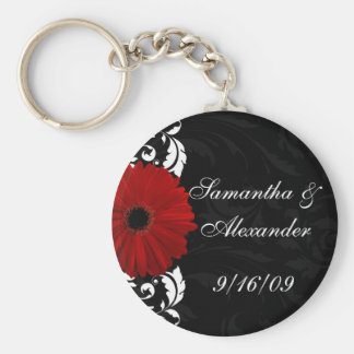 Red, Black and White Scroll Gerbera Daisy Keychain