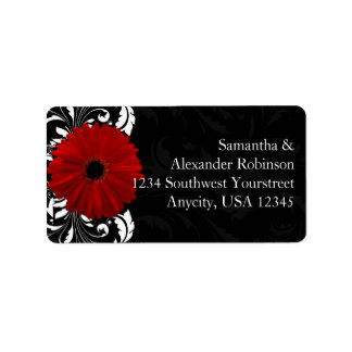 Red, Black and White Scroll Gerbera Daisy Personalized Address Label