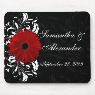 Red, Black and White Scroll Gerbera Daisy Mouse Pad