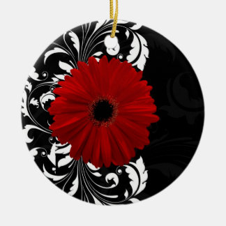 Red, Black and White Scroll Gerbera Daisy Double-Sided Ceramic Round Christmas Ornament