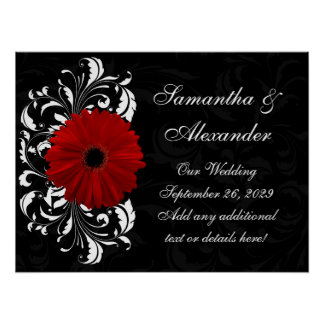 Red, Black and White Scroll Gerbera Daisy Poster