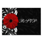 Red, Black and White Scroll Gerbera Daisy RSVP 3.5x5 Paper Invitation Card