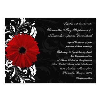 Red Black and White Scroll Gerbera Daisy Wedding Custom Announcements