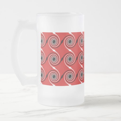 Red, Black and White Spiral Swirl Pattern. 16 Oz Frosted Glass Beer Mug
