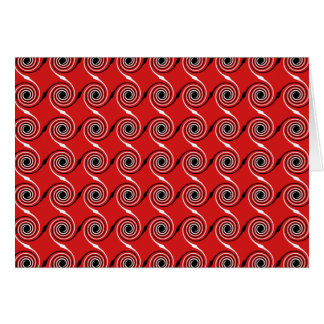 Red, Black and White Spiral Swirl Pattern. Stationery Note Card
