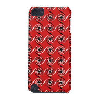 Red, Black and White Spiral Swirl Pattern. iPod Touch 5G Case