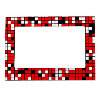 Red, Black And White Squares Pattern Photo Frame Magnet