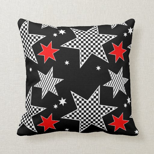 Black White And Red Throw Pillows : Red black and White Star Throw pillow Zazzle