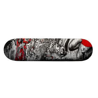 Red, Black and White Street Art Graffiti Skateboard