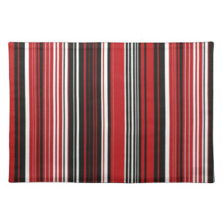 Red, Black and White Stripe Cloth Placemat