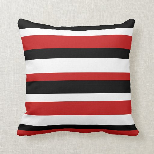Red black and white striped pillow zazzle