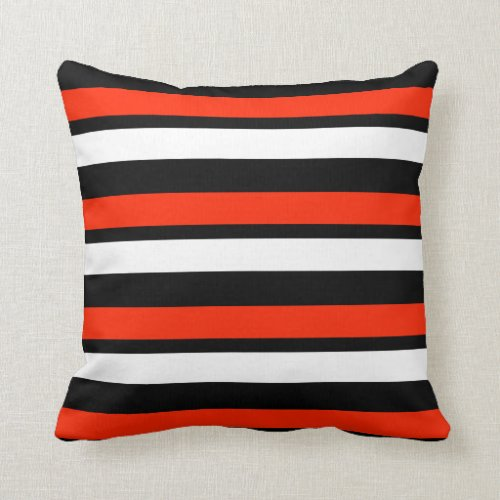 Red Black and White Striped Throw Pillow