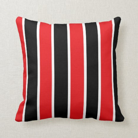 Red Black and White-Striped Throw Pillow