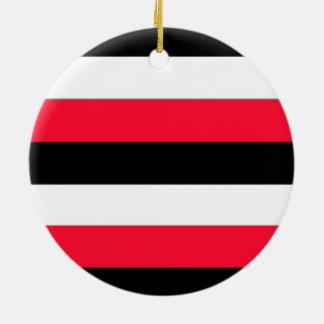 Red, black and white stripes ceramic ornament