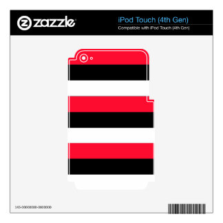 Red, black and white stripes decal for iPod touch 4G