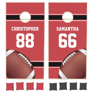 Red Black and White Stripes Football Jersey Cornhole Set