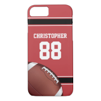 Red Black and White Stripes Football Jersey iPhone 7 Case