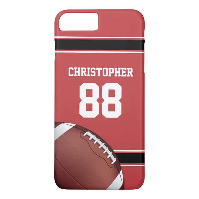 Red Black and White Stripes Football Jersey iPhone 7 Plus Case