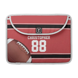 Red Black and White Stripes Football Jersey MacBook Pro Sleeve