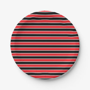 Red Black and White Stripes Paper Plate  sc 1 st  Zazzle & Red And White Stripes Plates | Zazzle