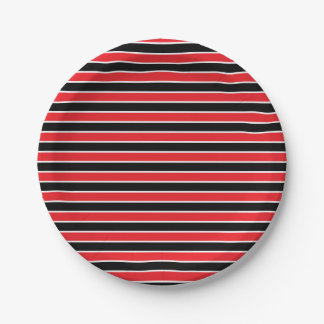 Red, Black and White Stripes Paper Plate