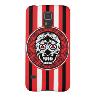 Red Black and white sugar skull style design Galaxy S5 Covers