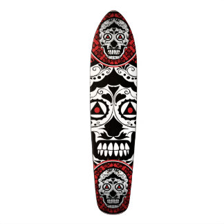 Red Black and white sugar skull style design Skateboard