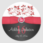 "Red, Black, and White Sweet 16 1.5"" Round Sticker"