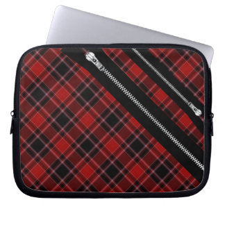 Red Black and White Tartan Plaid and Zips Laptop Sleeve