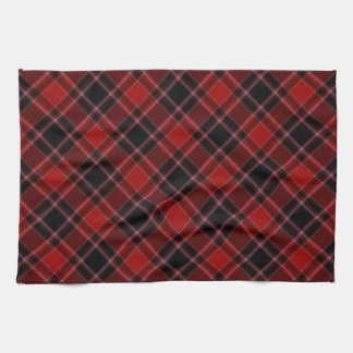 Red Black and White Tartan Plaid Pattern Hand Towels