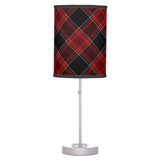 Red Black and White Tartan Plaid Pattern Table Lamp