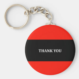 Red, black and white Thank you Basic Round Button Keychain