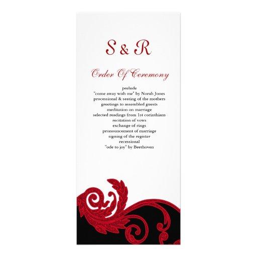 Redblack And White Wedding Program Full Color Rack Card
